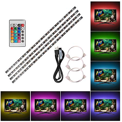 Lixada 4 * 50cm USB LED Strip Lights Kit Flexible Strip Lights mit Mini Fernbedienung Home LED Tape Strip für TV Computer Hintergrundbeleuchtung