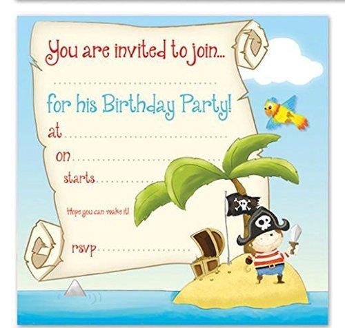 Lot de 16 Invitations anniversaire garçon dessin Pirate (en anglais) avec
