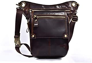 Crazy Horse Leather Thigh Hem Leg Bag Motorcycle with Crossbody Bag Shoulder Bag Waist Bag Men's Pockets (Color : Coffee, Size : S)