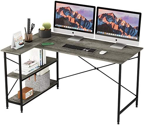 Bestier L Shaped Desk with Storage Shelves 55 Inch Reversible Computer Desk with Storage Tower product image