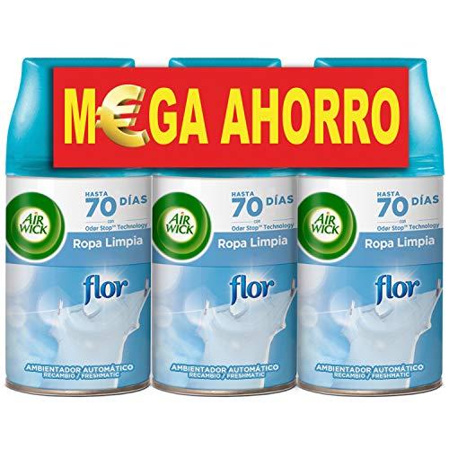 Air Wick Freshmatic Recambios de Ambientador Spray Automático, Esencia para Casa con Aroma a Flor - Pack de 3