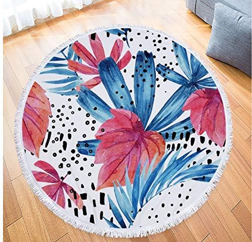 Vanzelu dikke strandhanddoek, rond, 150 x 150 cm, bloemen, bedrukte bladeren, cirkelhanddoeken, microvezel, sjaal, mat, bohemian voor volwassenen, badhanddoek, picknick, deken buiten