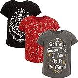 Harry Potter Hogwarts Big Girls 3 Pack Short Sleeve T-Shirt Red/Black/Grey 10-12