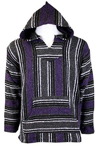 Striped Woven Baja Jacket Coat Hoodie (Purple, Large)