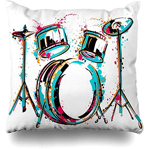 Moily Fayshow Kissenbezug 40X40 cm Sketch Drum Kit Spritzer Aquarell Spritzer Vintage Reggae Schlagzeuger Musik Party Abstrakte Kultur
