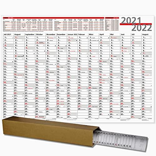 Schuljahresplaner 2021/2022 Schuljahres Wandkalender 21/22 für ein Schuljahr großer Wandkalender 100 x 70 mit Ferienübersicht, Sonn- und Feiertage in Rot, gerollt geliefert!