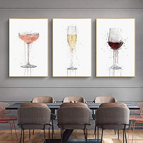 Gymqian Canvas Paintings Fashion Abstract Wine Glass Wall Art Pictures Poster Prints for Living Room Home Wall Decoration Mural 50x70cmx3 Frameless