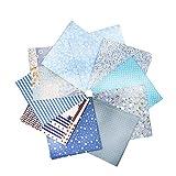 Ogquaton 10 piezas de 20 cm x 20 cm, impresión de algodón comprobado, serie de telas cuadradas, patchwork, manualidades, costura, scrapbooking, acolchado, patrones, artcraft de alta calidad