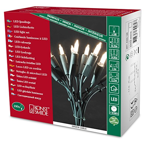 Konstsmide 6304-120 LED Minilichterkette / für Innen (IP20) 230V Innen / One String / 100 warm weiße Dioden / grünes Kabel