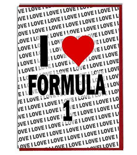 I Love Formule 1 Wenskaart - Verjaardagskaart - Dames - Heren - Dochter - Zoon - Vriend - Echtgenoot - Vrouw - Broer - Zuster