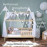 Alcube Hausbett-Deko, mit Baldachin, Lichterkette und Wimpel in grau-weiß, Himmel aus 2 riesigen Stoffbahnen je 160x290cm geeignet als Dekoration für Hausbetten von 160 bis 200 cm - 3