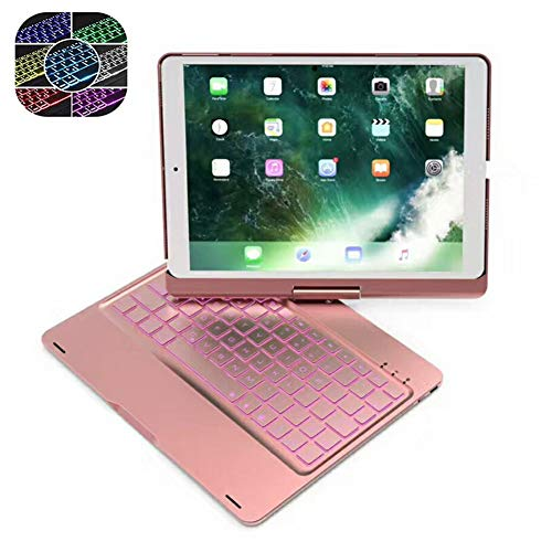 Ipad Keyboard Case 9.7 for Ipad Pro 9.7/Ipad Air 2&1, 7-Color Backlight Wireless Bluetooth Keyboard 360° Rotate Stand Aluminum Alloy And ABS Protective Clamshell Case,rose gold