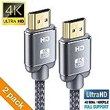 Câble HDMI 4K 2m(2Pack) - Snowkids Câble HDMI 2.0 Haute Vitesse par Ethernet en Nylon Tressé Supporte 3D/ Retour Audio-Cordon...