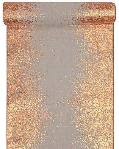 RP RIBBON Designer-Tischläufer, Baumwolle, naturfarben mit Metallic-Gold, Roségold oder Silberdruck, 28 cm x 3 m, ideal für Partys und Weihnachten. Rose Gold