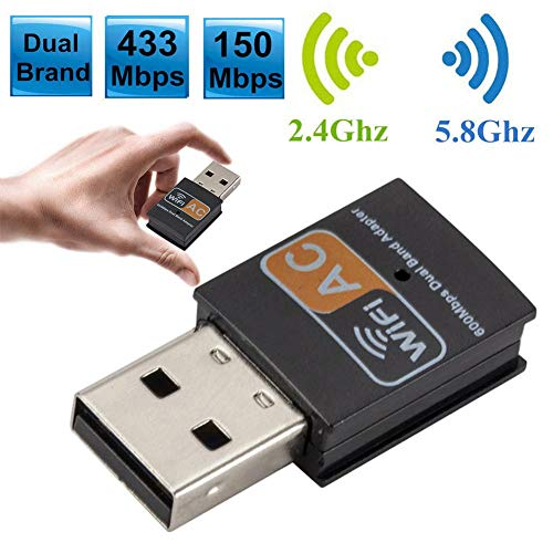 YUHUANG Tragbare Netzwerk-Geräte, tragbare Dualband 2.4G / 5G 600Mbps Wireless-Netzwerk LAN USB WiFi-Adapter-Karte