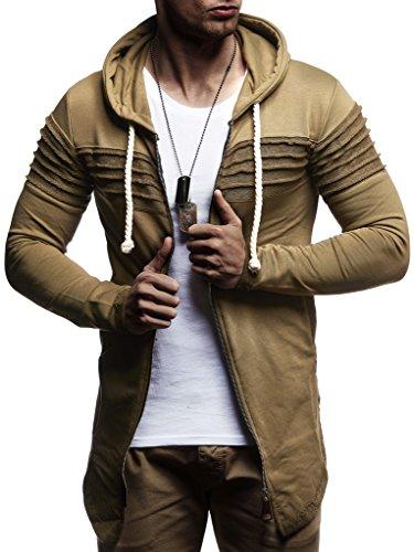 Leif Nelson heren sweatjas met capuchon slim fit katoenaandeel modern hoodie-cardigan lange mouwen mannen zwarte vrijetijdsjas voor de winter zomer LN8173