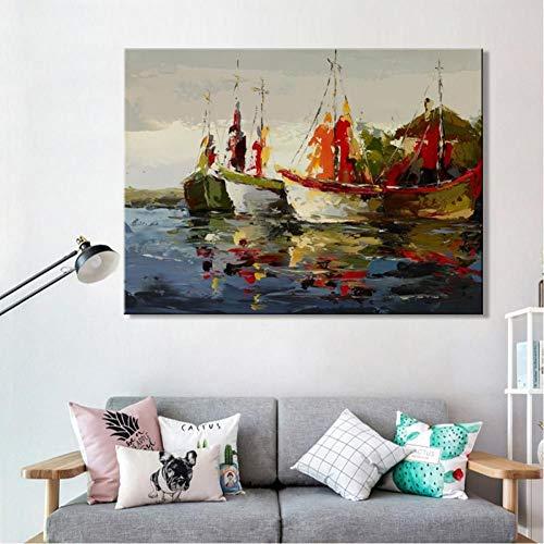 TBWPTS Canvas Schilderij Moderne Abstracte Zeegezicht Posters En Prints Wall Art Canvas Schilderij Zee Boot Decoratieve Foto Voor Woonkamer Home Decor