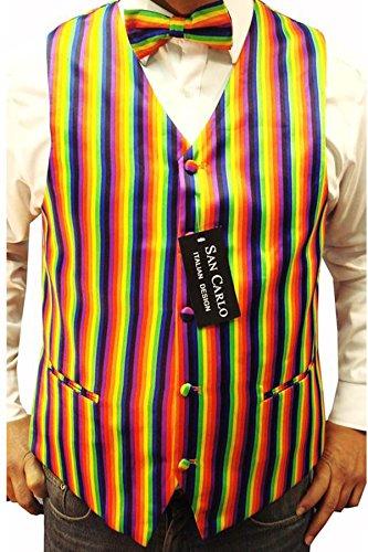 """Elegance1234 Hommes Arc en Ciel de Couleur Gilet et Cravate Bow Ensemble(ref:Rainbow Waistcoat) (L (42""""))"""