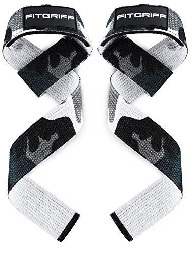 Fitgriff® Straps Powerlifting, Levantamiento de Pesas, Agarres para Gym, Agarraderas Gimnasio, Peso Muerto - Lifting Straps - Mujeres y Hombres - Camo Grey