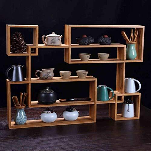 WCS Bamboo Teapot Shelf Tea Set Stile Giapponese Piccola Bo Antica Staffa in Legno Massiccio Duobao Pavilion Combination Base Stand Scaffali galleggianti (Color : Wood Color)