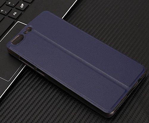 Owbb Hülle für Leagoo T5 Handyhülle Hard Plastik PU Ledertasche Flip Cover Tasche Hülle Case mit Stand Function Retro Klapphülle Design Dunkelblau