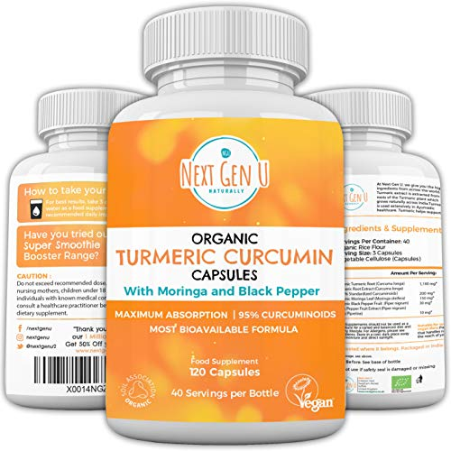 Organic Turmeric Curcumin Capsules 1500mg – 120 Capsules with Moringa & Black Pepper | Max Absorption Immune Booster | 95% Curcuminoids | Most Bioavailable Formula