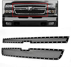 ZMAUTOPARTS For Chevy Silerado 15/+ 25 Hd/35 Upper Rivet Stainless Steel Mesh Grille