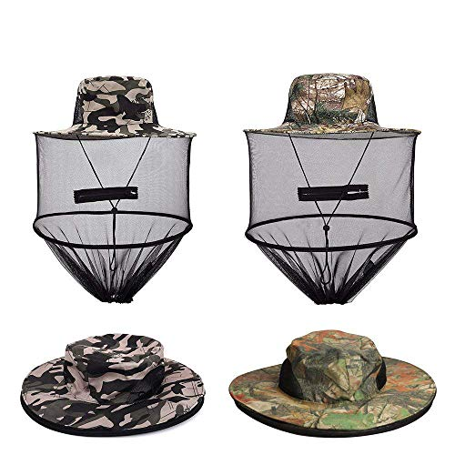 VIPITH 2 Pack Mosquito Head Net Hat, Sun Hat Bucket Hat with Hidden Net Mesh Mask for Outdoor Lover Fishing Hiking Gardening Beekeeping Men or Women