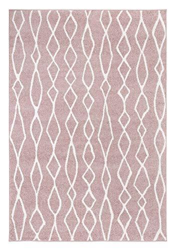 andiamo Webteppich Bolonia Muster modern Öko-Tex 100 Teppich, Polypropylen, Ornament rosa, 120x170 cm