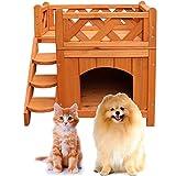 Qinghongkeen 2-Story Wooden Dog House,Pet Cat & Dog Wooden