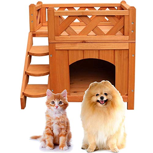 Qinghongkeen 2-Story Wooden Dog House,Pet Cat & Dog Wooden House Living House Kennel with...