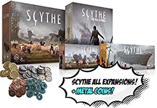 Scythe Bundle – Includes All Extensions! Plus Metal Coins! Scythe: Invaders from Afar, The Wind Gambit, The Rise of Fenris, and Encounters + Metal Coins!