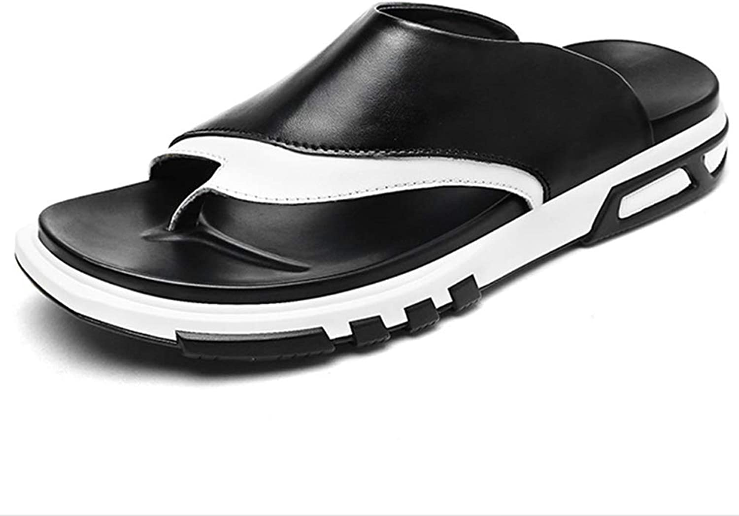 Men's Leather Herringbone Sandals and Slippers, Men's Flip-flops, Summer Casual Sandals, Outdoor Sports Sewing Fisherman's Breathable, Fashion England Beach Sandals And Slippers,Black,41