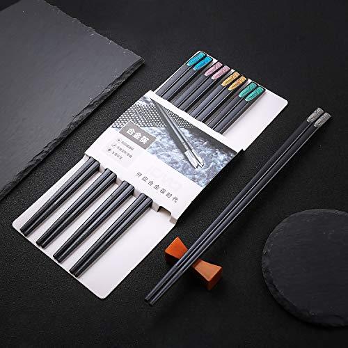Palillos de 5 colores Juego de 5 palillos Palillos japoneses Palillos de aleación reutilizables Lavable K2
