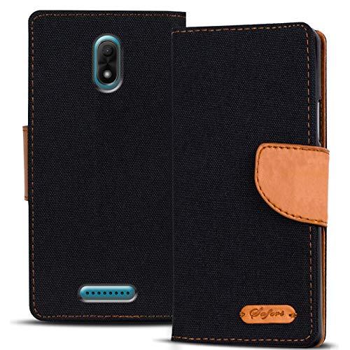 Verco Jerry 3 Hülle, Schutzhülle für Wiko Jerry 3 Tasche Denim Textil Book Case Flip Case - Klapphülle Schwarz