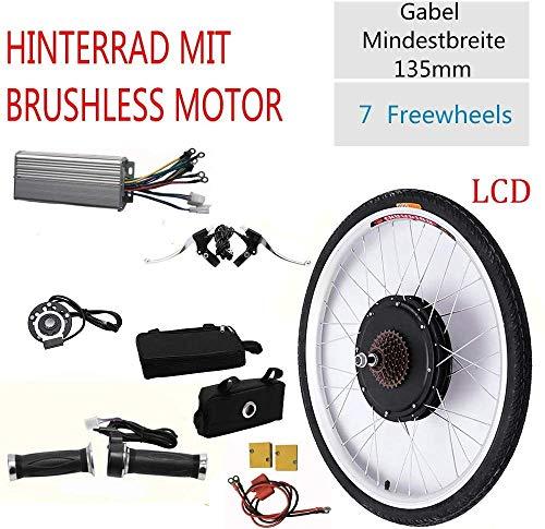 Komfort im Freien 26 36 V Hub Motor Elektrofahrrad 800 W/500 W LCD E-Bike Hinterrad Motor Elektrofahrrad Umbausatz + LCD Schwarz