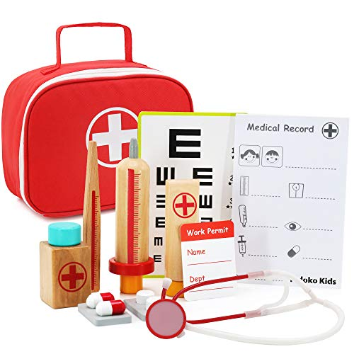 Pidoko Kids Doctor Kit for Kids - Wooden Pretend Play Set (11 Pcs) - Toys for Toddlers Boys and Girls 3, 4, 5, 6, 7 Year Old and up - Doctors Medical Gifts Playset
