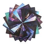 140 Feuilles de Papier Origami Ciel étoilé Motif de lune Ppapier de Couleur Pliable Couleur Simple à Double Face Origami Artisanat Décoration de la Maison (15×15 cm)
