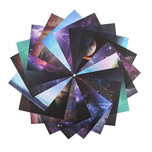 140 Hojas Origami,Origami Para Niños,Grulla de Papel Origami,Cósmica Hermosa Estrella de la luna de Doble Cara de Papel Plegado Arte y Artesanía,10 Patrones (15 * 15 Cm)