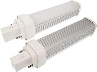 2pcs G24d 2-Pin LED Bulb E-Simpo 11W LED PL Horizontal Recessed Daylight 6000K 1000-1200lm CFL 2U PL-C 26W Equivalent 180 Degree Beam (Need Remove/Bypass The Ballast) (Daylight, G24D Base 2-Pin 21mm)