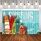 Telón de Fondo tablones Pared Verano Surf Colorida Tabla de Surf Escena bebé Fondos fotográficos para Estudio fotográfico A1 10x10ft / 3x3m