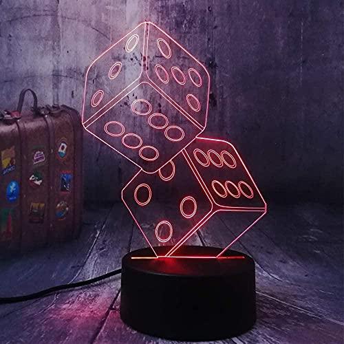 Lámpara de noche 3D Juguete divertido Dados Poker Jugar a las cartas Juego Fiesta Mesa Escritorio Dormir Juguete Vida Regalo Luces Regalo Noche Decoración Decoración Ilusión Led Luz