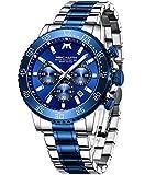 MEGALITH Reloj Hombre Oro Deportivos Militares Relojes Hombre Cronógrafo Acero Inoxidable Reloj de Pulsera Impermeable...