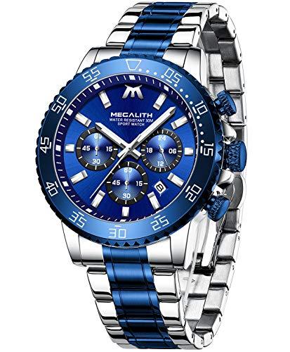 MEGALITH Blau Uhren Herren wasserdichte Analoge Quarz Uhr Chronographen Edelstahl Groß Armbanduhr Männer Uhren Datum Business Uhren für Mann