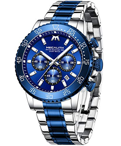 MEGALITH Reloj Hombre Oro Deportivos Militares Relojes Hombre Cronógrafo Acero Inoxidable Reloj de Pulsera Impermeable Analógico Luminoso Calendario