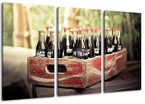 oude Coca Cola flessen schilderij op doek, 3-delige (Totale Grootte: 47.2