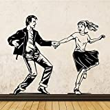 Tianpengyuanshuai Latin Dancer Art Wall Sticker Curso de Baile Latino Dance Art Decoración de la Pared 36X28cm