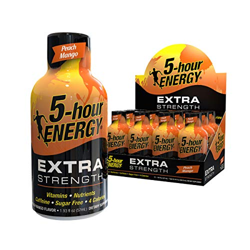 5-hour ENERGY Shot, Extra Strength, Peach Mango, 1.93 Ounce,12 Count