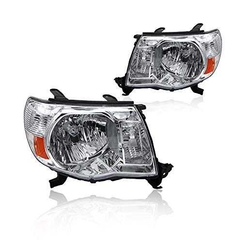 Replacement Headlight Assembly GTYTC05-A2 With Chrome Housing Amber Reflector Clear Lens for Toyota Tacoma Pickup Truck 2005-2011 81150-04163 81110-04163