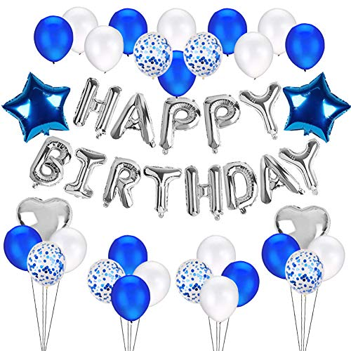 Blue Silver Happy Birthday Decorations Set - with Happy Birthday Balloons Banner, Star Foil Balloons, Heart Foil Balloons, Latex Balloons, Confetti Balloons for Baby Boy Shark Birthday Party Supplies